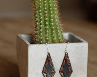 Amy Black & Tooled Earrings | Leather Earrings | Birthday Gift | Anniversary | Gifts under 25 | Handmade | Gifts for Her