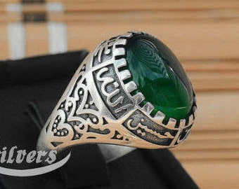 Floral Men Ring Natural green Carnelian Agate Aqeeq akik sterling silver 925 arabian yemeni agate ahlulbayt ehlibeyt ya hossein shia