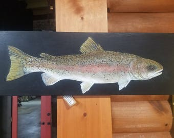 Large Rainbow Trout Acrylic Painting On Wood - Realistic Painting