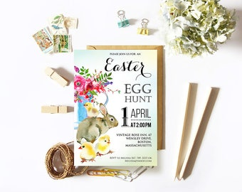 Easter Bunny Invitation Easter Egg Hunt Invitation Easter Printable Invitation Template Rabbit Chick Watercolor Floral Spring Invitation DIY