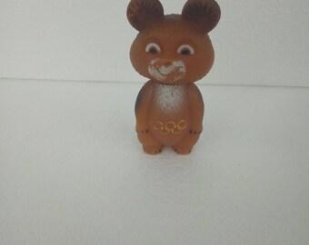 Misha bear, Moscow 1980 Olympics, Rubber bear, 80's Olympics mascot, Soviet Olympics 80s, Olympics USSR, Soviet Olympic bear  plastic