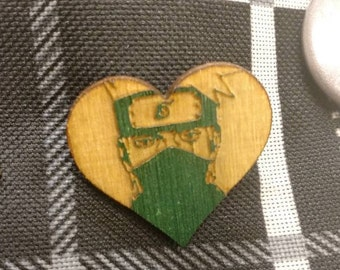 Kakashi Heart Shaped Wooden Lapel Pin- Naruto Pin, Hatake Kakashi