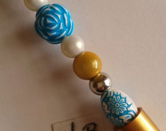 """Gold Pen - Pearl """"3D"""" blue/white and round white and gold"""