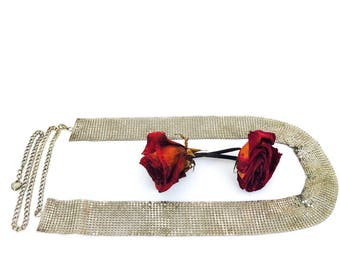 Vintage Liquid Silver Mesh Belt | Adjustable Chain with Heart | 70's | Free Shipping