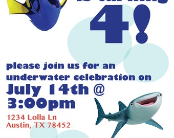 Finding Dory Invitation, Birthday Invitations, Dory Birthday Party
