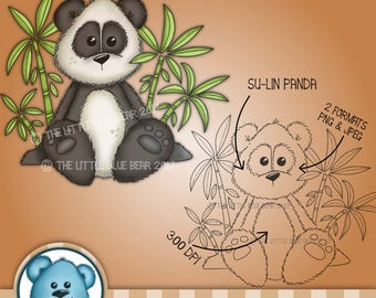DIGITAL STAMP - Su-Lin Panda. Instant Download - Digi Stamp