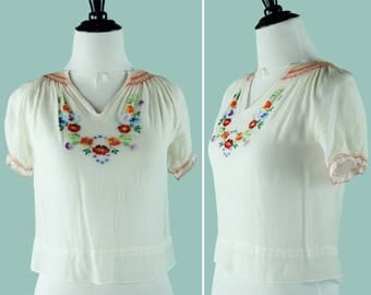 1940's Semi-Sheer Crepe Hungarian Peasant Blouse - 1940's Embroidered Peasant Blouse - Size Extra Small