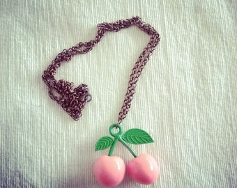 Cherries on a copper necklace