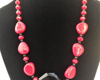 Black and Red Necklace and Earrings