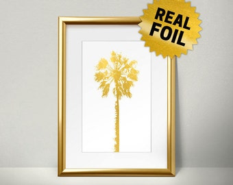 Palm Tree Decor, Real Gold Foil Print, Home Decoration, Wall Art Foil Art, Handmade Print, Metallic Gold Wall Art, Foil print, hawaii Tree,