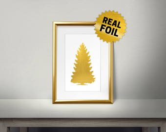 Cristmas Tree, Pine Tree Gold Foil, Real Gold Foil Print, Christmas wall Decor, silver christmas tree, Gold Wall Art