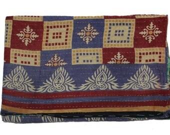 vintage Kantha Quilt Gudri Reversible Throw Handmade Quilt Blanket Q32