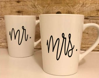 Mr. and Mrs. Coffee Mugs, Custom Coffee Mugs, His and Hers Mugs