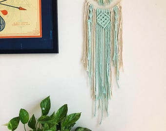 Boho Macrame Dreamcatcher with Clear Quartz Point Crystal, Woven Wall Hanging, Bohemian Hippie Tapestry, Dream Catcher
