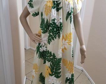 Vintage 1980's Royal Creations Hawaiian MuuMuu Dress with Tulip Sleeves Vibrant Green and Yellow Floral Design