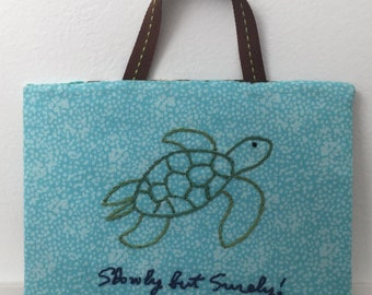 "Turtle Embroidery Wall Art ""Slowly but Surely"""