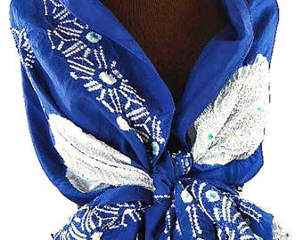 Japanese Obi Silk Shawl –Vintage Blue Silk Shawl, Silk Top, Silk Belt – Shibori Hand-dyed Silk –Japanese Kimono Scarf