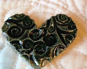 RAKU Heart Magnet with deep Emerald Glaze