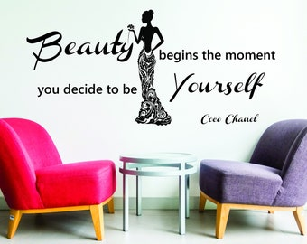 """Coco Chanel Quote """"Beauty begins the moment you decide to be Yourself""""ExtraLarge Office Vinyl Wall Sticker Decal Bedroom ."""