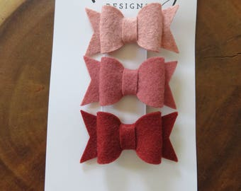 Dusty Rose Felt Bow Set