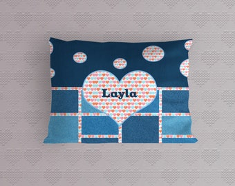 Customized Kids Pillowcase - Denim Look Pillowcase For Girls-Heart Design Pillowcase-Personalized Pillowcase For Kids-Pillowcase With Name