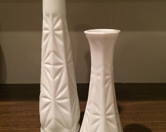Set of TWO Vintage Milk Glass Vases