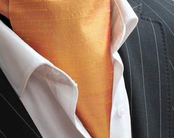 Cravat Ascot. 100% Silk Front. UK Made. Gold Dupion Silk + matching hanky.