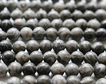 6mm Fancy Gray Jasper beads, full strand, natural stone beads, round, 60077