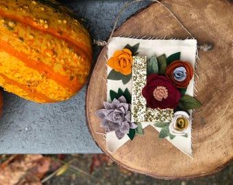 Fall Flower Monogram Pennant, Home Decor Pennant, Home Decor Sign, Hanging Sign Mogram, Felt Flower Banner