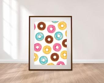 Donuts Print - Digital Download, Kids Prints, Kitchen Decor, Kids Wall Art, Instant Download Printable