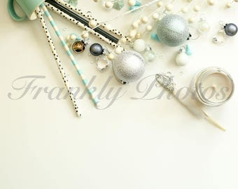 Instagram Square / Silver & Green Party Styled Stock Photography / Stock Photo / Stock Image / Flatlay / Backdrop /Frankly Photos File#21sq