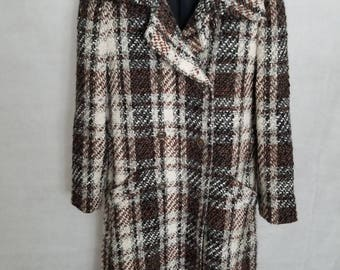 Adorable Women's 1960s Ward's Ward Bros Brown, Black, White & Gray Plaid Wool Coat Size S