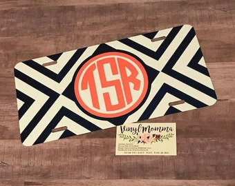 Monogrammed License Plate, Personalized License plate, Cute Car Tag, Stripes, Geometric Pattern, Striped Monogrammed car tag,