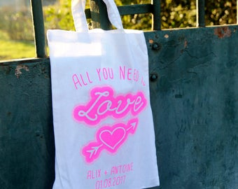 Pack 10 MiniTotebags Love Mariage personnalisables pour wedding gift /evjf / evg / enfants d'honneur - Handprinted in France