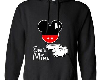 Mickey Mouse She's Mine Mickey Head Design Clothing Adult Unisex Hoodie Hooded Sweatshirt Best Seller Designed Hoodies for Men