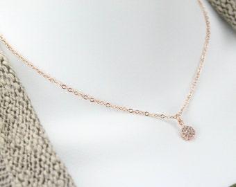 Rose gold Pave CZ necklace