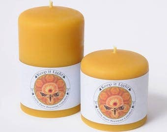 Large 100% Pure Beeswax Pillar Candles. Come in 3x3 and 3x5. Burn time 70 to 120 hours. Burns clean, bright and compact.