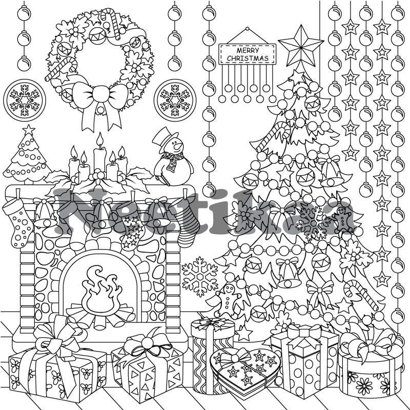 Hard Christmas Coloring Pages For Adults: Merry Christmas Adult Coloring Page Christmas Coloring
