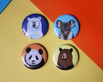 Bear button badges - Pack of 4