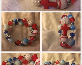 Baseball Themed Wrap Bracelets - Hand-Beaded Coil Bracelets - Baseballs and Crosses - Roses and Skulls - Funky MLB Memory Wire Bracelets