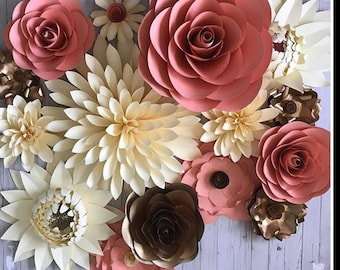 Large paper flower set