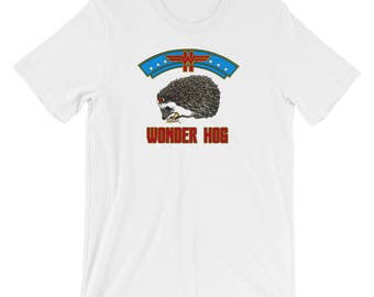 Hedgehog Shirt Wonder Hog - Superhero Hedgie - Funny Hedgehog Gift - Short-Sleeve T-Shirt of Power by Urchin Wear - Cute Hedgehog Shirt