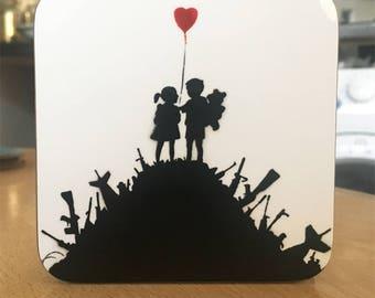 Banksy Coaster #1 - Banksy Gift - Banksy Coaster - Custom Coaster -Gift for Her - Gift For Him - Fridge Magnets - Banksy Magnet - Souvenir