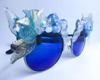 Earth Mermaid Sunglasses - Iridescent Floral Sunglasses - Blue Mirrored Sunglasses - Blue Round Sunglasses - Silver frame pearl sunglasses