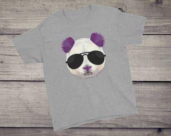 Polygonal PANDA sunglasses triangle animal T-Shirt geometric design Girls, Boys, Children, Youth Short Sleeve T-Shirt