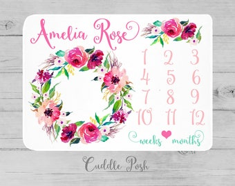 Baby Girl Milestone Blanket, Watercolor Floral Newborn Photography Backdrop, Month Growth Chart Quilt, Personalized Baby Girl Shower Gift