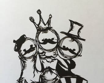 "Original design "" mustachios""  /Paper cut/ paper art"