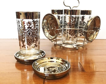 Vintage Kimiko Bar Caddy / Mid Century Barware / Set of 4 Silver Rim Guardian Highball Glasses & Coasters / Unique Gift for Him / Tumblers