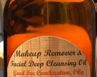 Makeup Remover & Facial Deep Cleansing Oil | 8oz | Natural,Gentle | Cleanse Dirt without Clogging Pores for Combination,Oily,Acne-Prone Skin