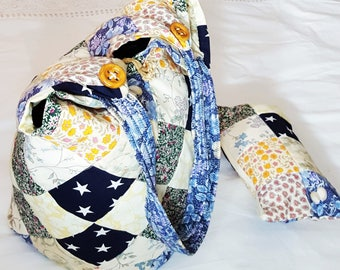Yellow and Blue Diamond Patchwork Tote Bag